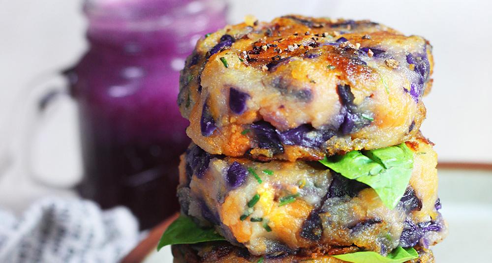 Polpette di patate e cavolo viola