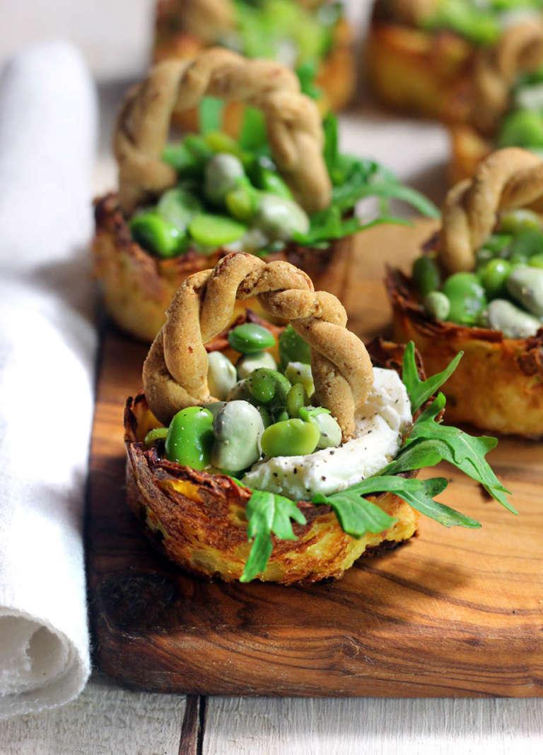 Cestini di patate con fave, senza glutine