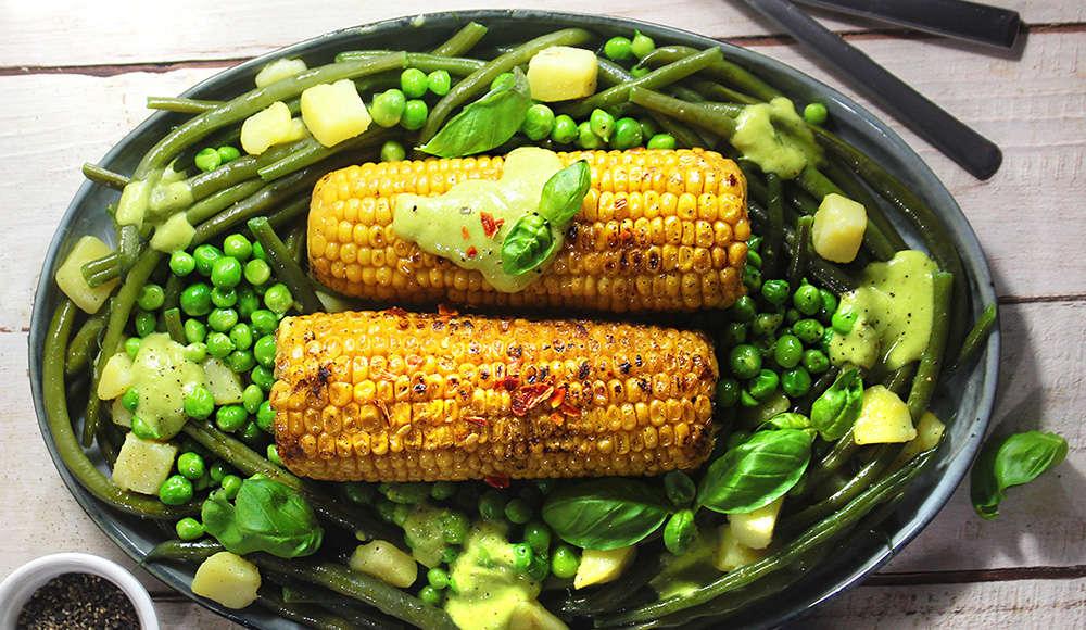 Pannocchie arrosto con contorno di verdure