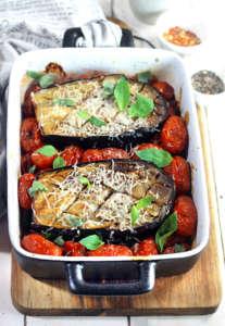Melanzane su pomodorini al forno