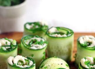 Rotolini di cetrioli con crema di cannellini