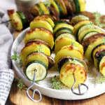 Spiedini di patate, zucchine e funghi