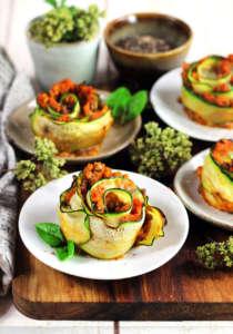 Lasagne di zucchine, rose senza pasta